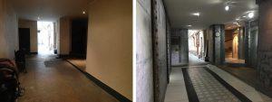 décoration rénovation hall d'immeuble ancien dans le style industriel