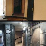 Avant Après hall d'immeuble Napoléonnien finalement transformé en style industriel