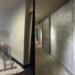 avant-après, mur également transformé en décoration industrielle avec IPN de décoration style Eiffel