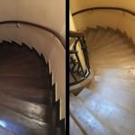avant-après escalier rénové et aussi éclairci