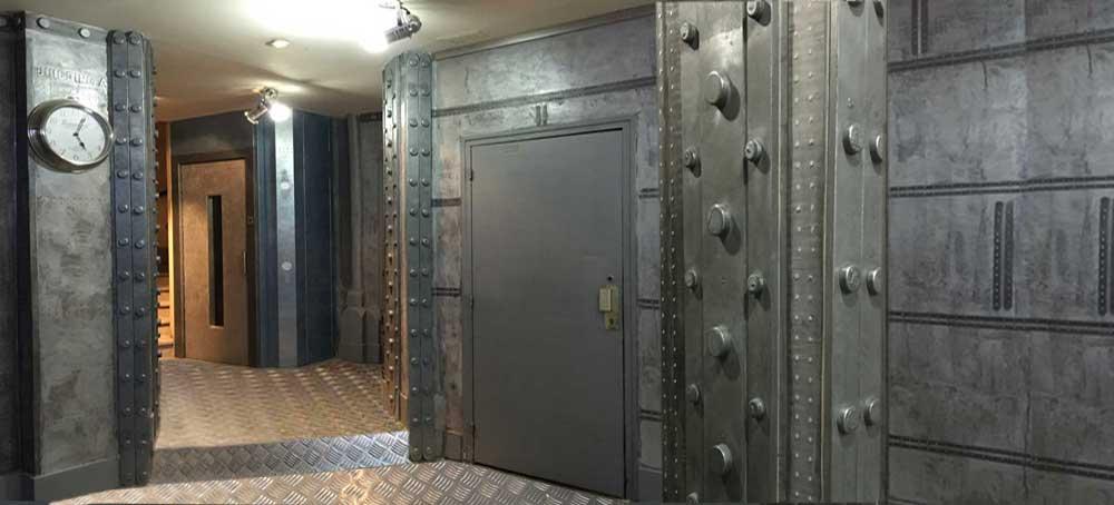 Mur acier et zinc industriel decomursdecomurs - Pochoir style industriel ...