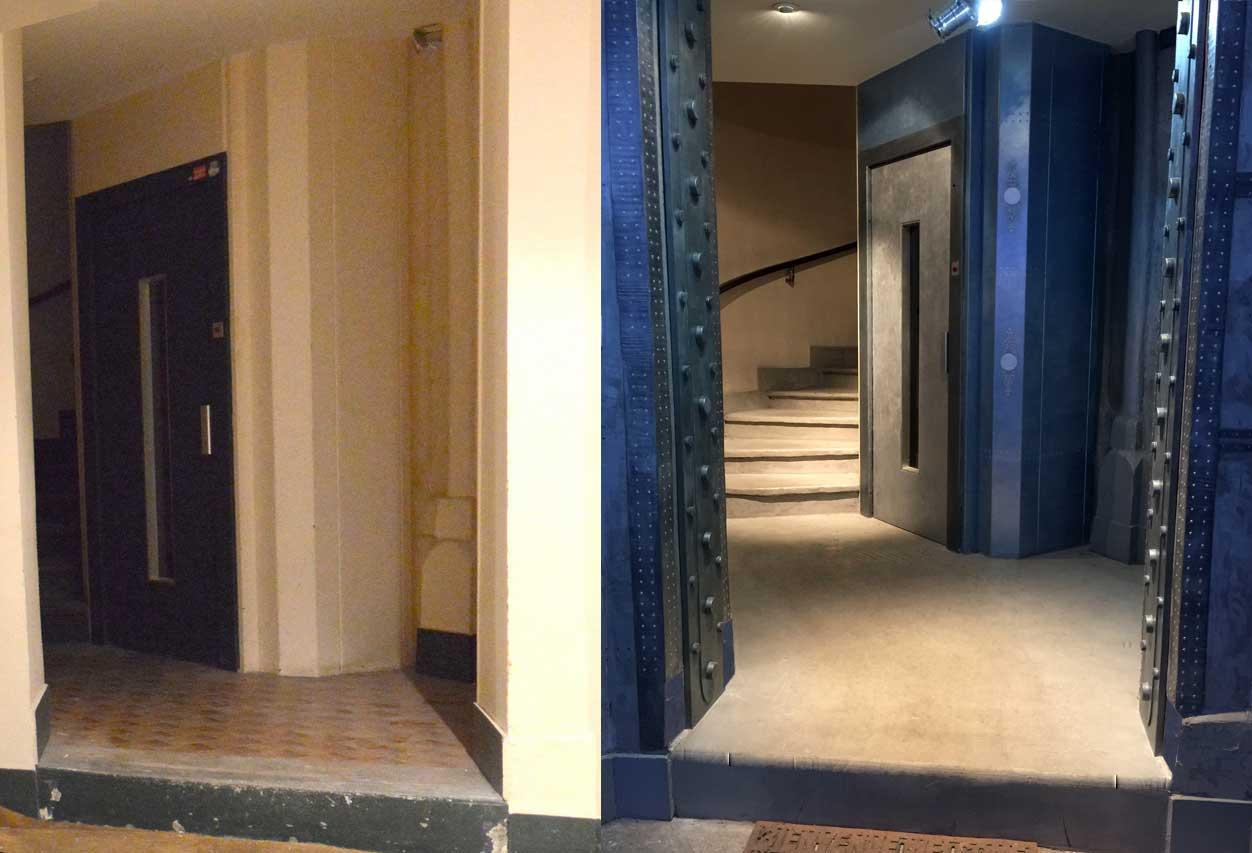 Ascenseur metal decomursdecomurs for Decoration porte ascenseur