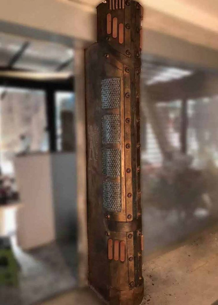décoration restaurant et colonne customisée style industriel
